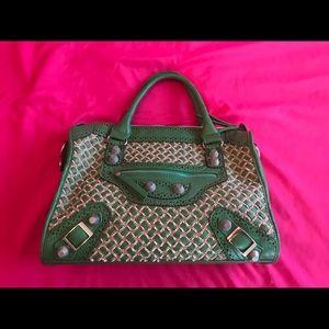 Nicole Lee Green + Tan Weaved Bag